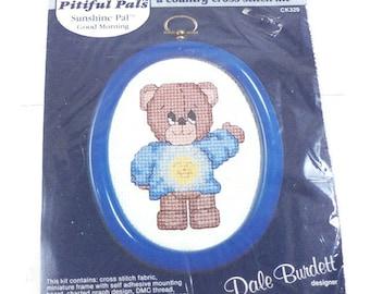 "SALE Sunshine Pal Good Morning ""Pitiful Pals"" Vintage Cross Stitch Kit, Dale Burdett, 1985, Unopened Package, CK329"