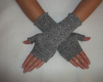 Sweater Knit Fleece Fingerless Gloves / Gray Heather / Your choice of size