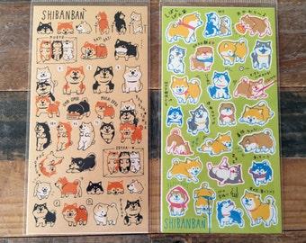 "Cute sheet of Sticker- ""Shibanban"" Shibainu for scrapbooking, gift message, Bookmark, Packaging, Party favor"