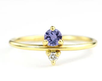 Tanzanite and Diamond December Birthstone Mother's Ring | Eco-Friendly Stones 14k Recycled Gold | Unique Minimal Modern Birthstone Jewelry