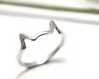 Cat Ears Ring - Sterling Silver Cat Ring - Cat Lover Gift - Cat Jewellery - Handmade in England