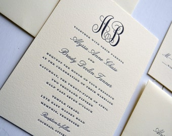 Classic Monogram Wedding Invitations - JPress Designs, letterpress, classic, elegant, simple, modern, quality, calligraphy, thick card stock