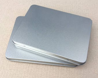 Rectangular Metal Tin, Blank Hinged Tin, Color Silver 350ml Tin box, A6 Size Tin Box, Tin Box For Craft Supply