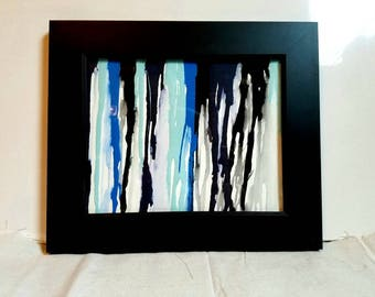 Framed drip painting