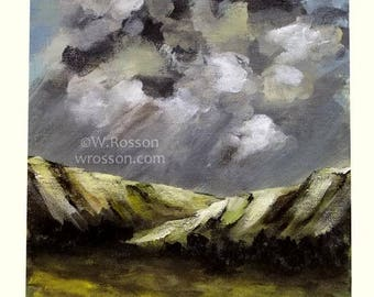 Thunderstorm, Weather, Rain, Original Painting, Landscape Painting, Mountain, Storm, Winter, Home Decor, Wall Art,  Cloud Painting, Winjimir
