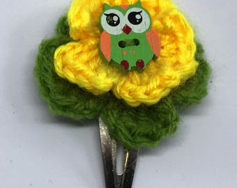 Green and Yellow Flower Hair Clip