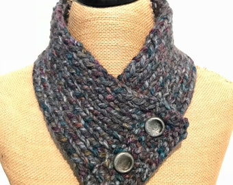 Hand Knitted Buttoned Neck Warmer in Wool Ease Thick & Quick Abalone Item# KNW320184