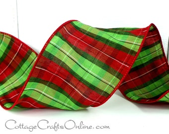 """Christmas Wired Ribbon, 4""""  Holiday Green Red Plaid - TEN YARD ROLL -  d. stevens, """"Donner"""" Faux Dupioni Tartan Craft Wire Edged  Ribbon"""