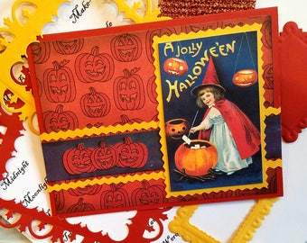 Have a Jolly Halloween with Jack-o-Lanterns and Sweet Witch Card