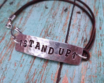 Stand Up Activist Bracelet - Speak Up Stand Up Love not Hate Warrior Protector- Stand Up March No Hate -Resist Resistance -B62