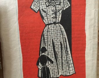"""Vintage 1960's Anne Adams 4936 Mail Order pattern, casual dress with a tab and bow neckline and a variety of sleeves Size 14 1/2 Bust 35"""""""