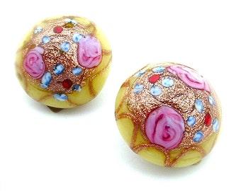 Vintage handgemachte venezianischen Hochzeitstorte Glas Ohrringe gelb rosa Blume Rosen