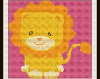 Lion Kids Afghan, C2C Graph, Written Word Chart, Crochet Pattern