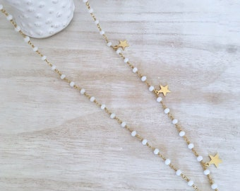 Rosary with side stars-925 sterling silver
