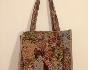 vintage cat tote bag