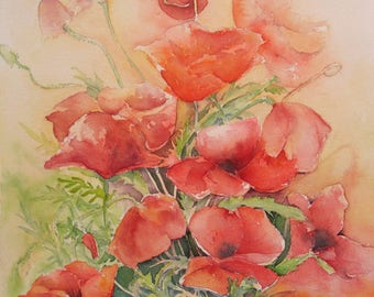 "Card titled ""Poppies, tulips, peonies, hydrangeas"" reproductions of my original watercolor painting"