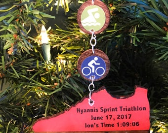 Triathlon Ornament, Swim Bike Run Ornament, Triathlon Gifts, Ironman Triathlon Gifts, Triathlete Ornament, Triathlete Gift, Sprint Triathlon