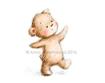 Happy Teddy Bear - Printable Art - Nursery decor - Kids room decor - Children's wall art - Kids wall art - Digital Print - Greeting Card