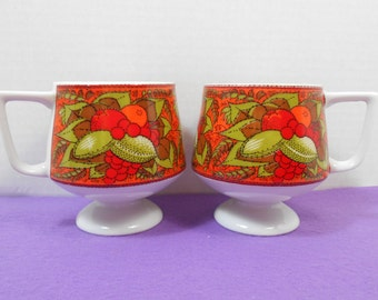 Pair of Holt Howard Fruit & Vegetables Harvest Pedestal Mugs/Cups