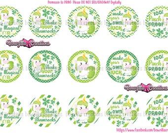 St Patty Unicorns- INSTANT DOWNLOAD- 1 Inch Circles- Bottle Cap Images- Unicorn- St Patricks Day- St Patty- Green Unicorns- Shamrocks- BCIs