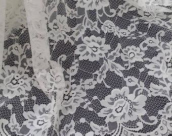 Ivory lace fabric, French lace, Chantilly lace, Wedding lace, Bridal lace, Evening dress lace, Lingerie lace, fabric LL93001
