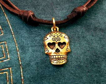 Sugar Skull Necklace SMALL Day of the Dead Necklace Sugar Skull Jewelry Leather Necklace Brown Cord Necklace Mens Jewelry Boyfriend Necklace