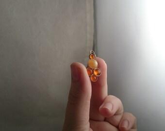 Orange Mexican Fire Opal Sterling Silver Pendant