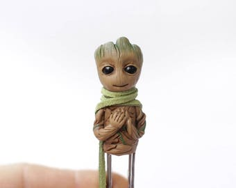Baby Groot Bookmarks marvel miniature figurine paper clip children baby gift For her For him handmade polymer clay clips wood tree