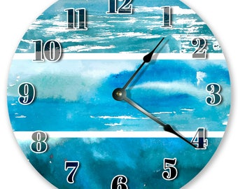 """10.5"""" WATERCOLOR ABSTRACT Clock - Large 10.5"""" Wall Clock - Living Room Clock - Round Clock - Housewarming Gift - Home Decor - 3105"""