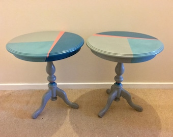 Round Wooden Table with Colourful Geometric Design