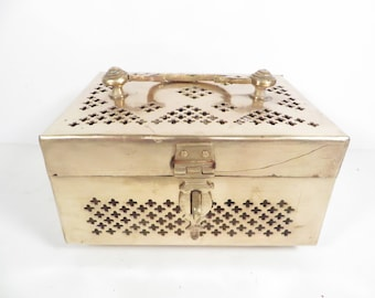Vintage Brass Cricket Box - Vintage Brass Trinket Box - Decorative Brass Box