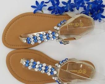 Ivory Wedding Sandals with Sparkling Blue Gems Bridal Sandals  Destination Wedding Sandals Beach Wedding Sandals Beach Wedding Shoes