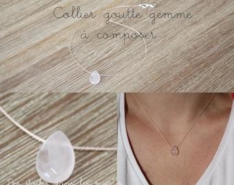 A dial - necklace Teardrop semi precious gem stone