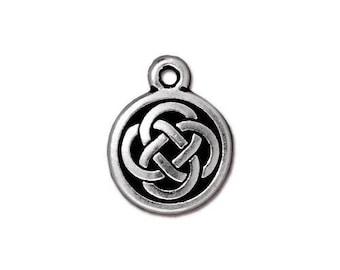 TierrraCast Celtic Charms, TierraCast Celtic Knot Round Charm - Antiqued Silver Celtic Knot Charm (TC-2033-12) - 15x12mm - Qty. 2