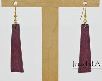 handmade Purpleheart wooden earrings