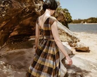 SALE - Grass Script' Dress in Plaid Meadow