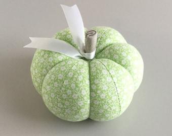 Green Floral Pumpkin Pincushion Floral Pumpkin Pin Keep