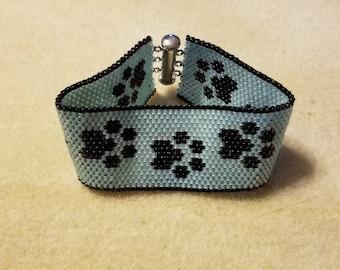 Paw Print Peyote Bracelet