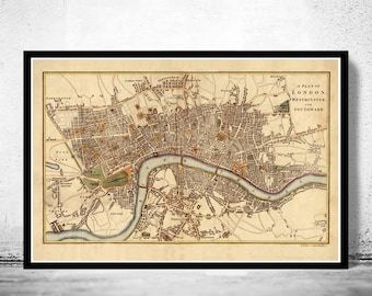 Old Map of London , England United Kingdom 1807