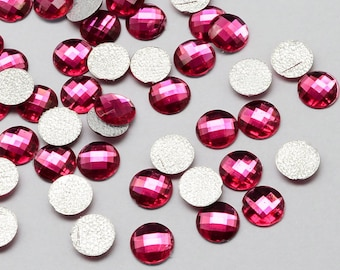 Cabochons rhinestones nacklace with dark pink x 100