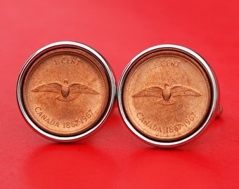 1967 Canada One Cent BU Uncirculated Coin Cufflinks  NEW - Dove with Wings Spread