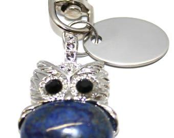 Engraved / personalised imitation lapis lazuli owl keyring handbag charm gift pouch BR448
