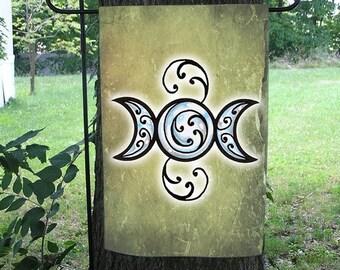 Triple Goddess Moon Pentacle Garden Flag