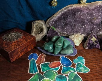 Green Aventurine Tumbled Crystal & Sticker Sets   Crystals Hand Picked with Love