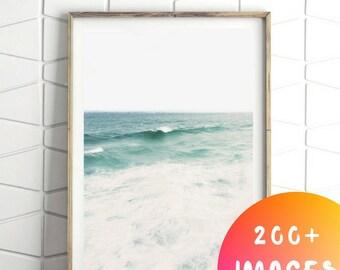 Ocean Print, Ocean Wave Print, Sea Wave Printable Print, Coastal Print, Sea Waves, Printable Art, Downloadable Print, Coastal Wall Decor