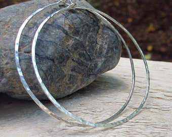 2 inch Sterling Silver Hoop Earrings, Sterling Silver, Large Hammered Hoops, Argentium Sterling Silver, Thin Hoop Earrings, 18 Gauge, Modern