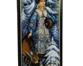 Beautiful Fedoskino Russian Lacquer Box Snow Maiden #4142