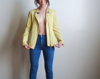 90's Lime Green Suede Moto Jacket