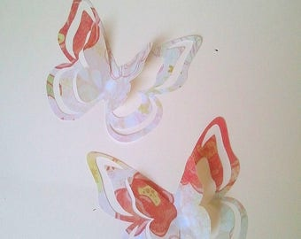 "The sticker paper with adhesive ""Pretty butterflies"" pink"