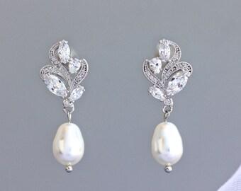 Crystal Bridal Earrings, Pearl Wedding Earrings, Silver Wedding Jewelry, FLEUR